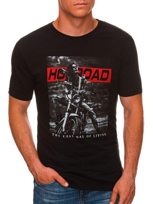Juodi vyriški marškinėliai su motociklu internetu S1468 20179-1