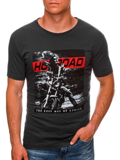 Tamsiai pilki vyriški marškinėliai su motociklu internetu pigiau S1468 20180-1