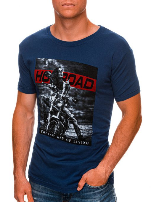 Sodriai mėlyni vyriški marškinėliai su motociklu internetu pigiau S1468 20181-1