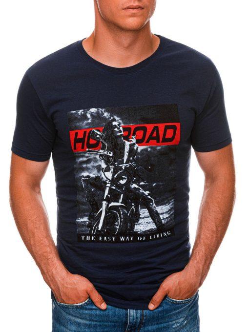 Tamsiai mėlyni vyriški marškinėliai su motociklu internetu pigiau S1468 20182-1