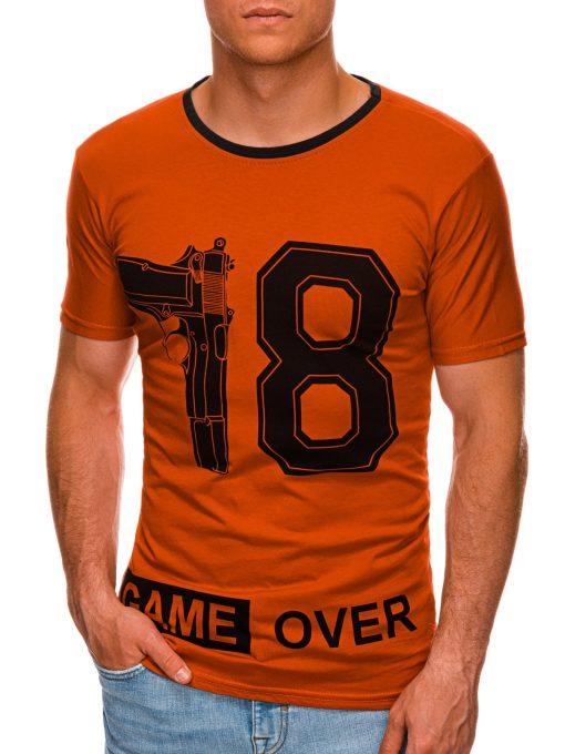 Raudoni vyriški marškinėliai su užrašu internetu pigiau S1478 20323-1