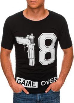 Juodi vyriški marškinėliai su užrašu internetu pigiau S1478 20324-1