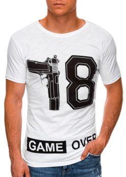 Balti vyriški marškinėliai su užrašu internetu pigiau S1478 20327-1