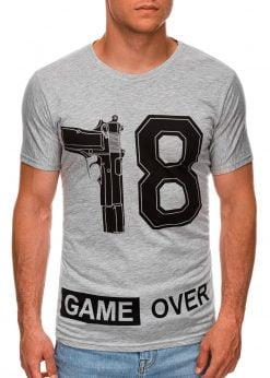 Pilki vyriški marškinėliai su užrašu internetu pigiau S1478 20328-1