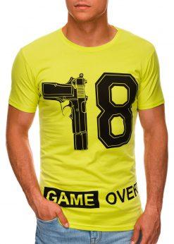 Geltoni vyriški marškinėliai su užrašu internetu pigiau S1478 20329-1