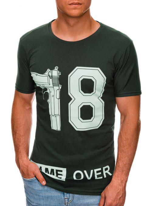Tamsiai žali vyriški marškinėliai su užrašu internetu pigiau S1478 20330-1