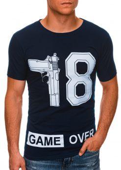 Tamsiai mėlyni vyriški marškinėliai su užrašu internetu pigiau S1478 20332-1