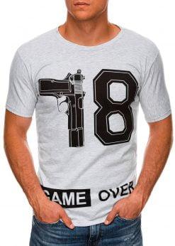 Šviesiai pilki vyriški marškinėliai su užrašu internetu pigiau S1478 20346-1