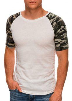 Balti vyriški marškinėliai su kamufliažinėmis rankovėmis internetu pigiau S1476 20391-1
