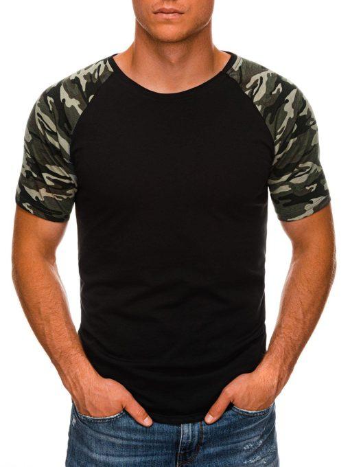 Juodi vyriški marškinėliai su kamufliažinėmis rankovėmis internetu S1476 20392-1
