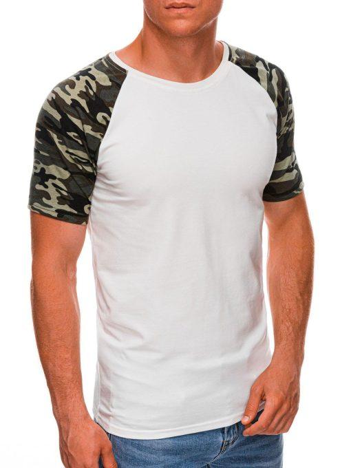 Šviesiai rusvi vyriški marškinėliai su kamufliažinėmis rankovėmis internetu pigiau S1476 20439-2
