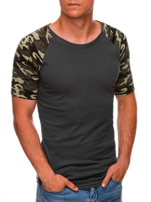 Tamsiai pilki vyriški marškinėliai su kamufliažinėmis rankovėmis internetu pigiau S1476 20440-2