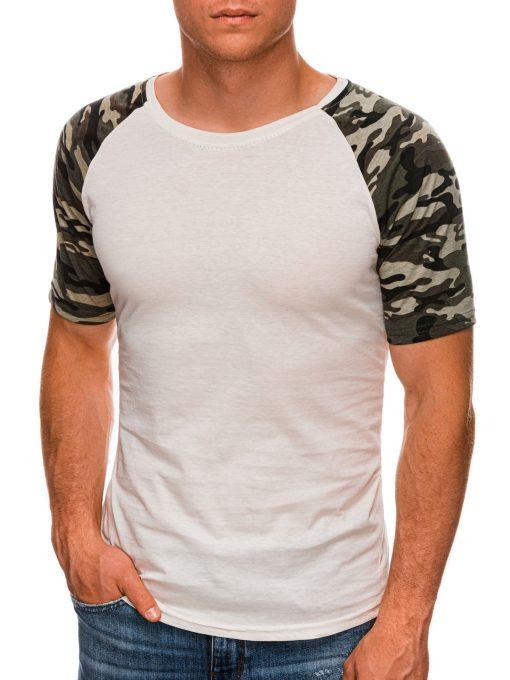 Rusvi vyriški marškinėliai su kamufliažinėmis rankovėmis internetu pigiau S1476 20441-3