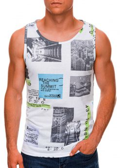 Balti vyriški marškinėliai be rankovių internetu pigiau S1481 20459-1