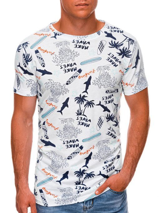 Balti vyriški marškinėliai su užrašais internetu pigiau S1483 20461-1