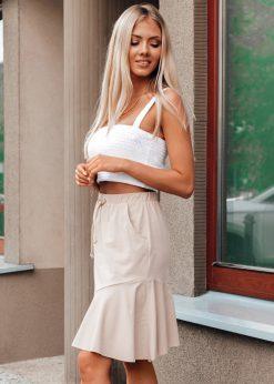Rusvasmoteriškas sijonas su raukinukais internetu pigiau GLR015 20542-1