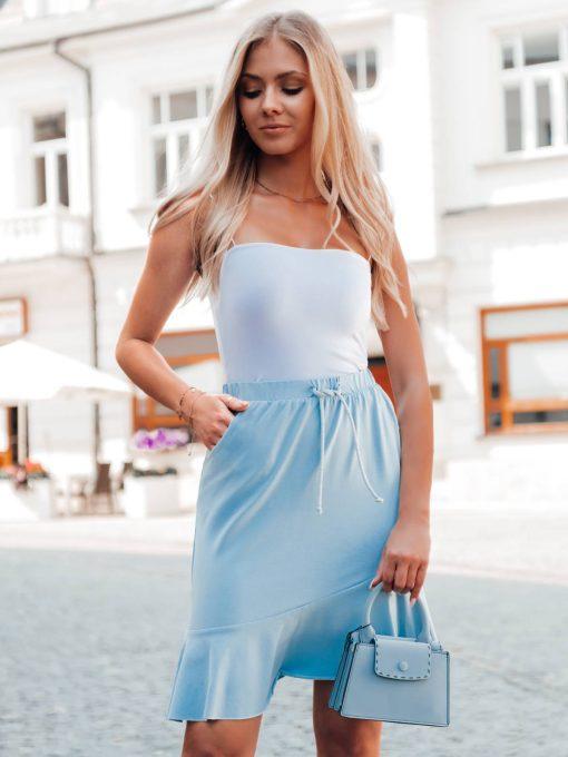 Šviesiai mėlynas moteriškas sijonas su raukinukais internetu pigiau GLR015 20543-1