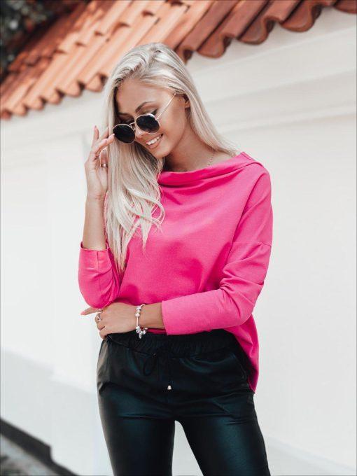Rožinė moteriška palaidinė su plačia iškirpte internetu LLR001 20679-1