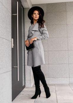 Pilkas moteriškas paltas internetu pigiau CLR011 17903-1