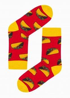 Raudonos vyriškos kojinės su paveiksliukais internetu U190 20825-3