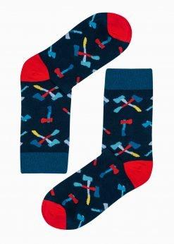 Tamsiai mėlynos vyriškos kojinės su paveiksliukais internetu U189 20826-1
