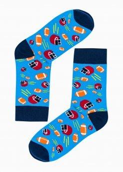Šviesiai mėlynos vyriškos kojinės su paveiksliukais internetu U193 20827-1