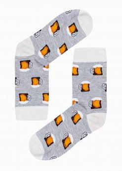 Pilkos vyriškos kojinės su paveiksliukais internetu U185 20832-1