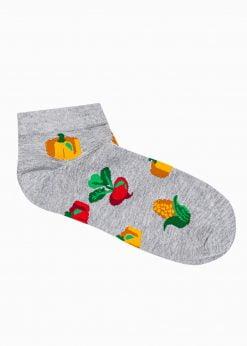Pilkos trumpos vyriškos kojinės su paveiksliukais internetu U178 20896-1