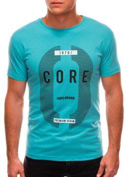 Šviesiai mėlyni vyriški marškinėliai su užrašu internetu S1491 20909-1