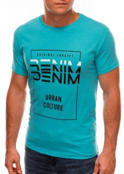 Šviesiai mėlyni vyriški marškinėliai su užrašu internetu S1485 20916-1