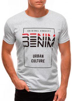 Pilki vyriški marškinėliai su užrašu internetu S1485 20917-1
