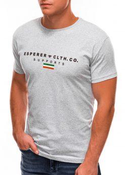 Pilki vyriški marškinėliai su užrašu internetu S1489 20928-4