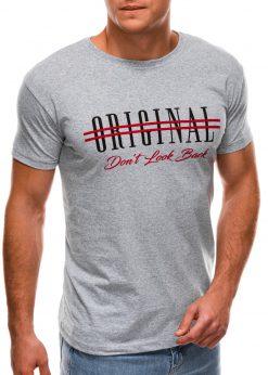 Pilki vyriški marškinėliai su užrašu internetu S1486 20931-4