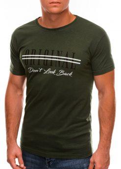 Chaki vyriški marškinėliai su užrašu internetu S1486 20936-4