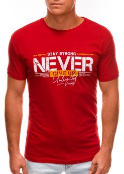 Raudoni vyriški marškinėliai su užrašu internetu S1488 20943-2