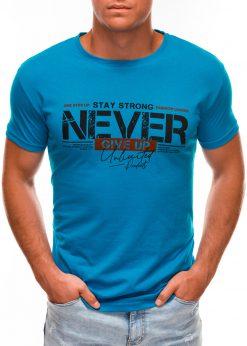 Mėlyni vyriški marškinėliai su užrašu internetu S1488 20945-1