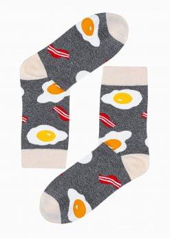 Pilkos kokybiškos vyriškos kojinės su paveiksliukais internetu U194 20948-2