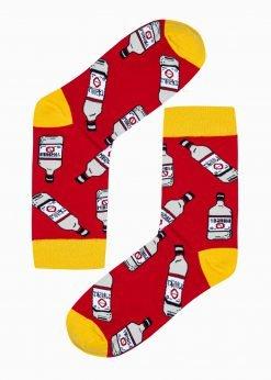 Raudonoskokybiškos vyriškos kojinės su paveiksliukais internetuU198 20952-1