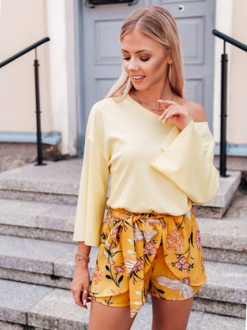Geltona moteriška palaidinė plačiomis rankovėmis internetu LLR004 17411-1