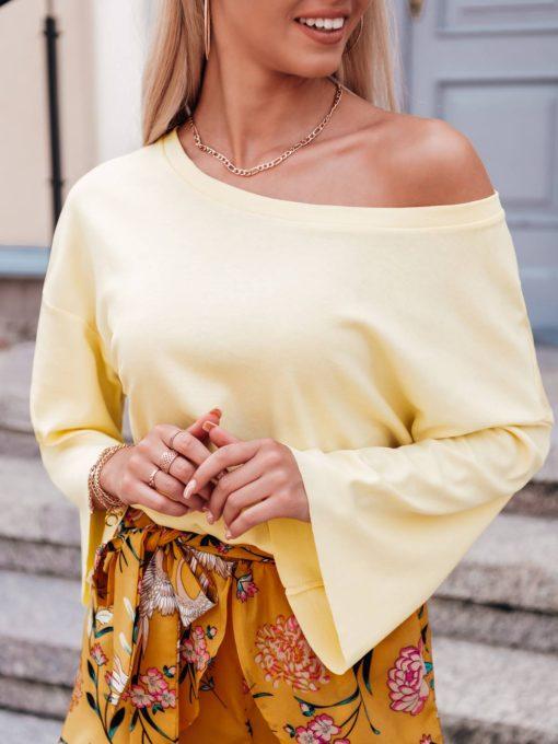 Geltona moteriska palaidine placiomis rankovemis internetu LLR004 17411-4