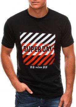 Juodi vyriški marškinėliai su užrašu internetu S1492 21463-1