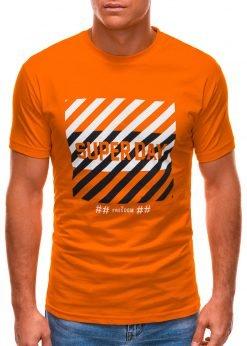 Oranžiniai vyriški marškinėliai su užrašu internetu S1492 21533-1