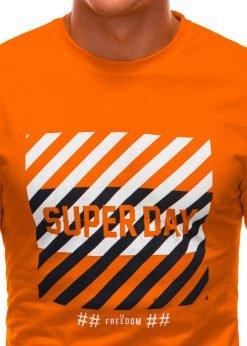 Oranziniai vyriski marskineliai su uzrasu internetu S1492 21533-3