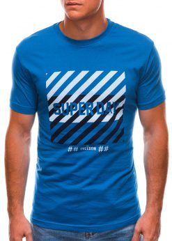 Mėlyni vyriški marškinėliai su užrašu internetu S1492 21535-1