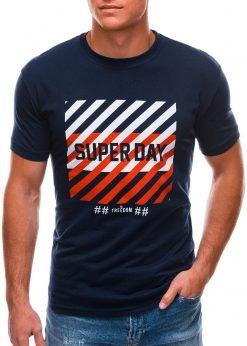 Tamsiai mėlyni vyriški marškinėliai su užrašu internetu S1492 21541-1