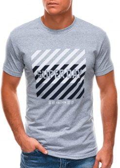 Pilki vyriški marškinėliai su užrašu internetu S1492 21544-1