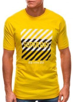 Geltoni vyriški marškinėliai su užrašu internetu S1492 21545-1