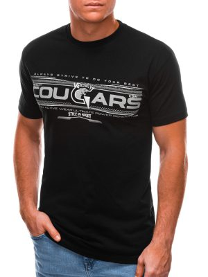 Juodi vyriški marškinėliai su užrašu internetu S1493 21550-1