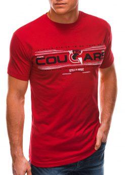 Raudoni vyriški marškinėliai su užrašu internetu S1493 21551-1