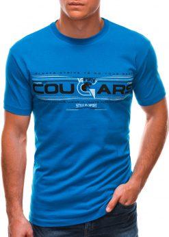 Ryškiai mėlyni vyriški marškinėliai su užrašu internetu S1493 21552-1